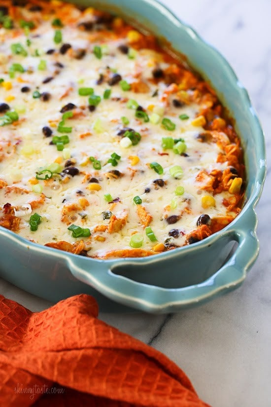 chicken recipes - Spiralized Mexican Sweet Potato and Chicken Casserole Photo credit: skinnytaste.com