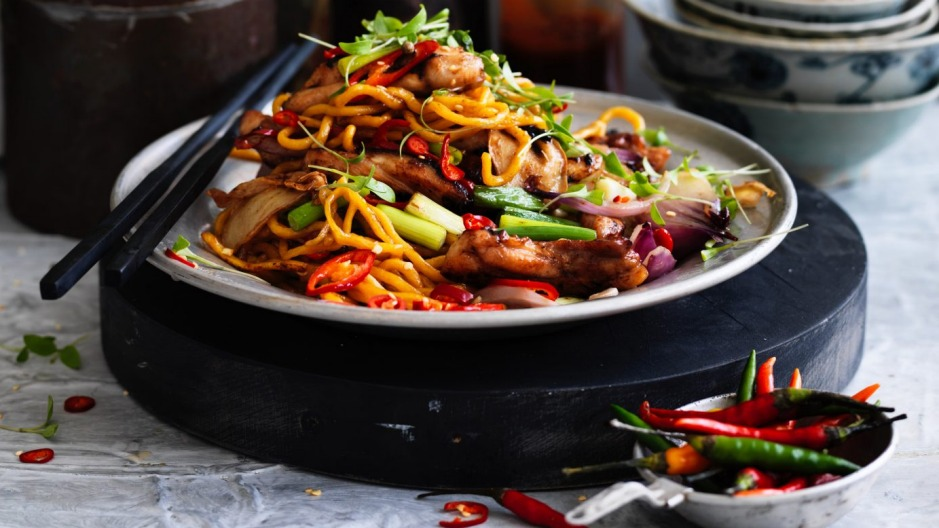 Kylie Kwong's stir-fried Hokkien noodles with chicken, chilli and coriander.  Photo: William Meppem