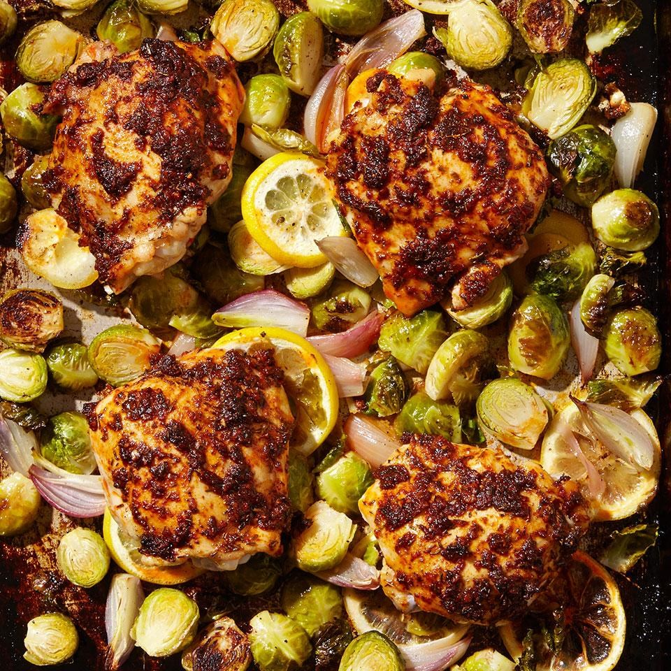Paprika Chicken Thighs with Brussels Sprouts Photo credit: eatingwell.com