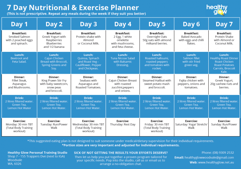 FREE 7-Day Meal Planner by Healthy Glow PT Studio